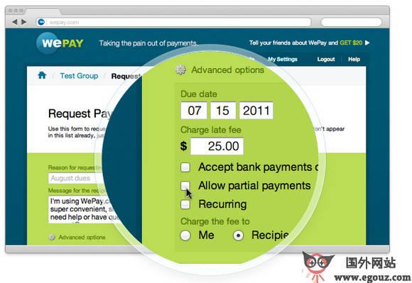 【经典网站】WePay:在线支付平台